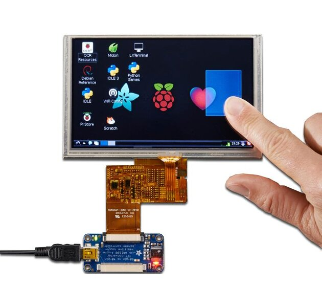 PiTFT Touchscreen Display 5 800x480  mit Controller